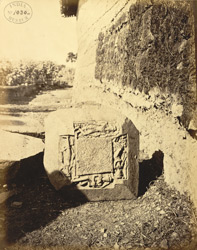 Sculptured block with four figures of Vishnu, including Sesasayin, at Kispa